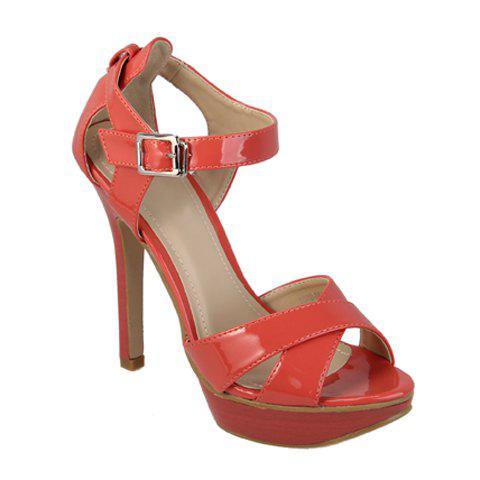 Patent Leather High Heel Women's Sandals With Cross Straps Design - ORANGE 35