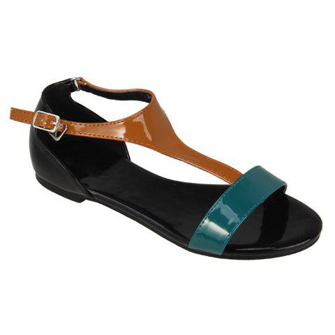 Casual Color Matching Design Women's Flat Sandals - GREEN 35