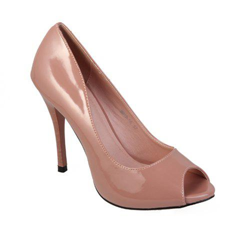 Solid Color Women's Pumps With Peep Toes Design - PINK 35