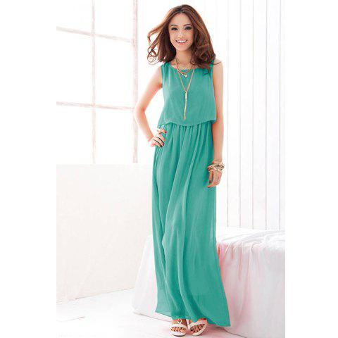 Women's Chiffon Maxi Dress With Fake Two-Piece and Sleeveless Design - LIGHT GREEN ONE SIZE