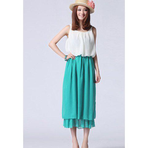 Women's Elegant Chiffon Dress With Color Block Elastic Waist and Pleated Design - BLUE ONE SIZE