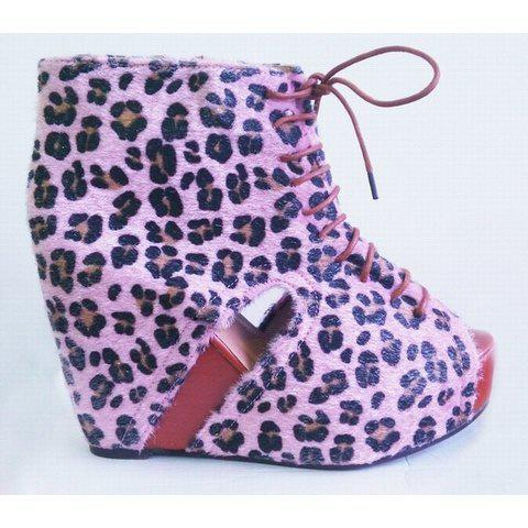 Party Leopard Print Design Women's Wedge Ankle Boots - PINK 37