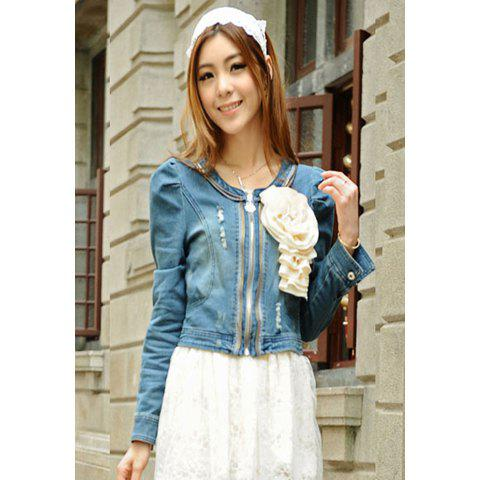 Women's Casual Jean Coat With Zipper and Puff Long Sleeve Design - BLUE M