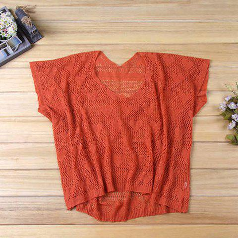 Scoop Neck Openwork Heart Print Half Dolman Sleeve High-Low Hem Knitting Womens Casual KnitwearWomen<br><br><br>Size: ONE SIZE<br>Color: JACINTH