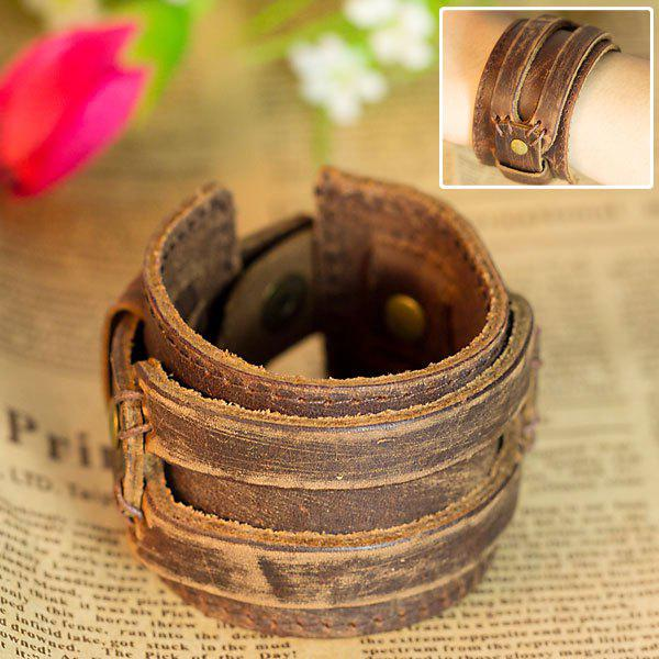 Stylish Leather Belt Flat Bracelet Hand Chain Wrist Ornament