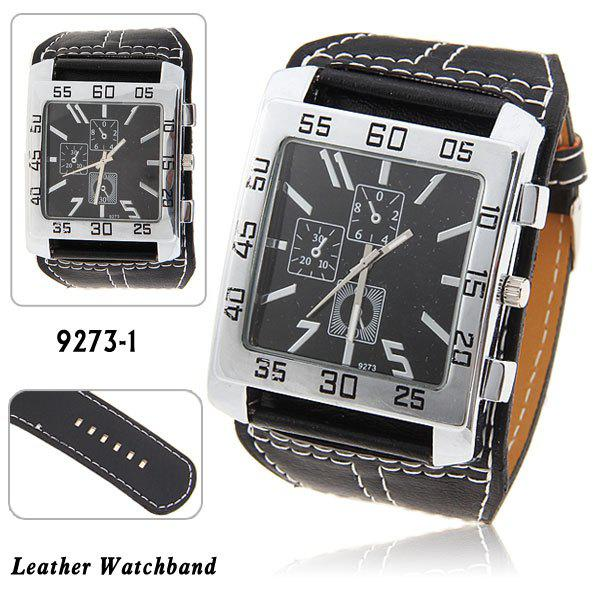 Nice Mens Quartz Wrist Watch with Water Resistant Square Shaped Dial 30mm Wide Brown Leather BandWatches<br><br><br>Color: BLACK