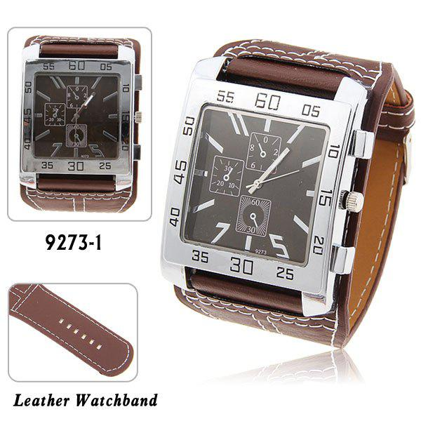 Nice Men's Quartz Wrist Watch with Water Resistant Square Shaped Dial 30mm Wide Brown Leather Band - BROWN