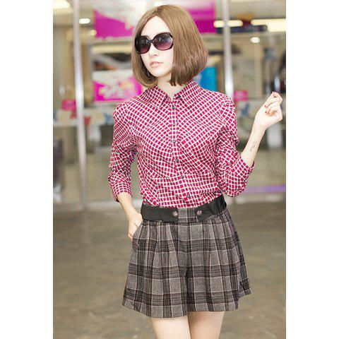 Stylish Puff Sleeve Check Long Sleeve Shirt for Women with Bow Tie - AS THE PICTURE ONE SIZE