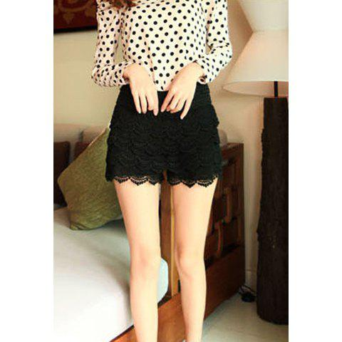 Ladies Lace Tiered Short Skirt Under Safety Pants Shorts - BLACK ONE SIZE