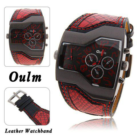 Oulm Multi-Function Dual Movt Leather Wrist Watch with Quartz Dial for Male - RED