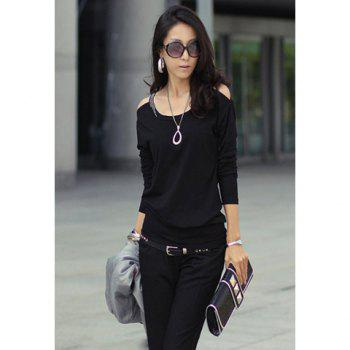 Scoop Neckline Solid Color Simple Slimming Style Off-the-Shoulder Long sleeve Cotton Women's T-Shirt - BLACK ONE SIZE