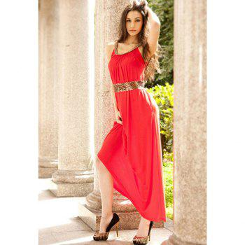 Scoop Neckline Casual Slimming Style Color Matching Weave Embellished Sleeveless Cotton+Chiffon Women's Maxi Dress