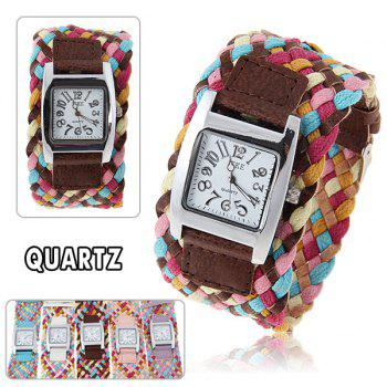Casual Women's Watch with Square Aluminum Case Quartz Analog Dial Colorful Nylon Band