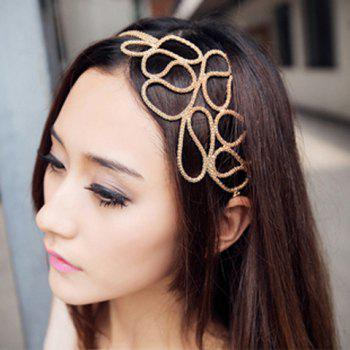 Europe Style and Elegant Openwork Braided Flower Shape Hair Band For Women - GOLD GOLD