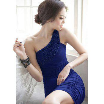 Diagonal One Shoulder Ruffle Beads Pure Color Sleeveless Milk Silk Party Dress