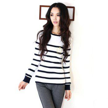 Scoop Neckline Casual Slimming Elegant Style Color Matching Stripes Badge Printed Long Sleeve Cotton Women's T-Shirt