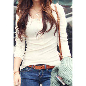 Slimming Solid Color and Long Sleeve Round Neck Design Women's Cotton T-Shirt - WHITE ONE SIZE