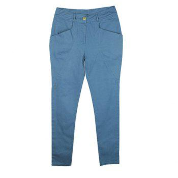 Vintage Casual Loose Fitting Solid Color Women's Harem Pants - BLUE S