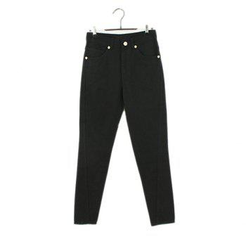Retro Style Loose Fit Solid Color Casual Cotton Blend Women's Harem Pants - BLACK L