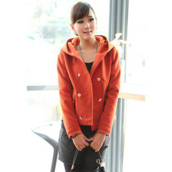Fashional Double-Breasted Hooded Long Sleeve Woolen Fabric Women's Jacket - JACINTH JACINTH