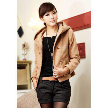 Fashional Double-Breasted Hooded Long Sleeve Woolen Fabric Women's Jacket - CAMEL CAMEL