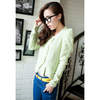V Neck Faux Pearl Button Flouncing Hem Puff Long Sleeve Light Green Wool Blend Knitwear Cardigan