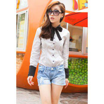 Slimming Stand Collar Color Matching Bowtie Long Sleeves Cotton Blend Women's Shirt - LIGHT GRAY L