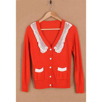 Sweet Pan Collar Double Pocket Long Sleeve Women's Cardigan - WATERMELON RED ONE SIZE