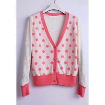 Stylish V-Neck Polka Dot Long Sleeve Cotton Women's Cardigan - PINK ONE SIZE