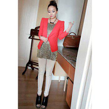 Fashionable Turn-Down Collar Special Hem Pure Color Long Sleeves Women's  Nylon Taffeta Blazer - RED RED