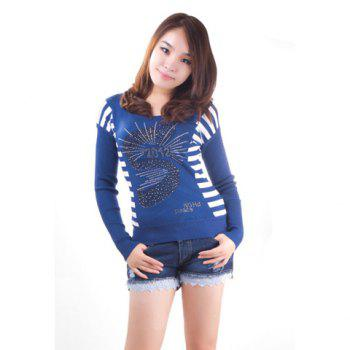 Rhinestone Embellished Patterns Round Neckline Long Sleeve Back Stripes Seater For Women - BLUE BLUE