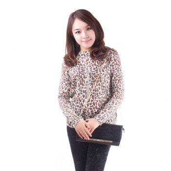 Fashionable Leopard Print Long Sleeve Knitted Sweater For Women - BROWN BROWN