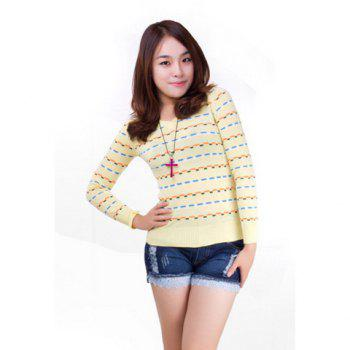 Colorful Blocks Long Sleeve Knitted Sweater For Women