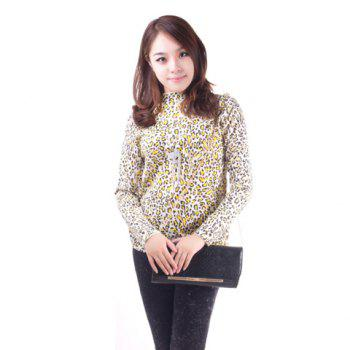 Fashionable Leopard Print Long Sleeve Knitted Sweater For Women - YELLOW YELLOW