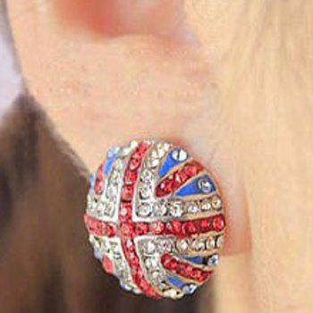 Stylish and Sparking Rhinestone Inlaid Union Jack Pattern Ear Studs