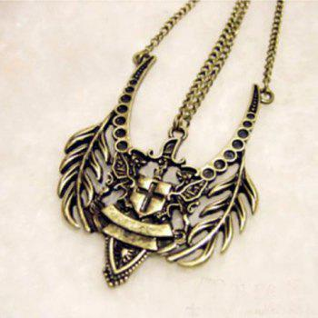 Korea Style and Stylish Latin Cross Engraved Bedge Shape Pendant Necklace - AS THE PICTURE AS THE PICTURE