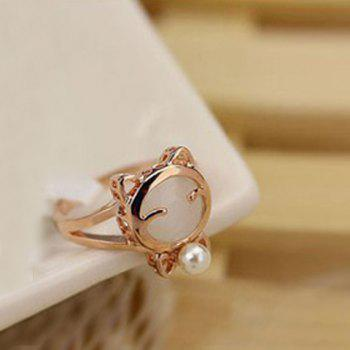 Rhinestone Kitten Shape Faux Pearl Inlaid Finger Ring