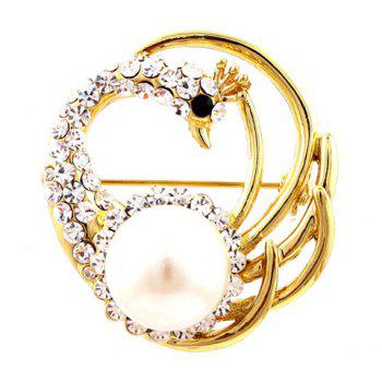Stunning Pearl Peacock Shape Rhinestone Embellished Scarves Decor Women's Brooch - GOLD GOLD