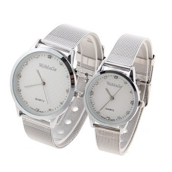 Valentine WoMaGe Quartz Rhinestone Decoration Wrist Watch with Dots Hour Marks Silver Case Steel Band for Couple