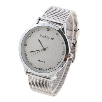 Valentine WoMaGe Quartz Rhinestone Decoration Wrist Watch with Dots Hour Marks Silver Case Steel Band for Couple -  SILVER CASE