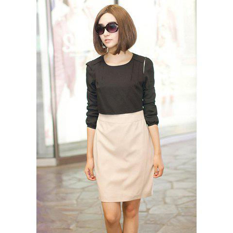 Scoop Neck Color Block Long Sleeve Faux Twinset Cotton Blended Women's Summer Work Dress - BLACK M