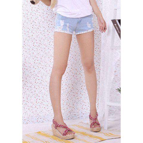 Letter Print Destroy Wash Hemming Slimming Jeans Shorts For Women - AS THE PICTURE S