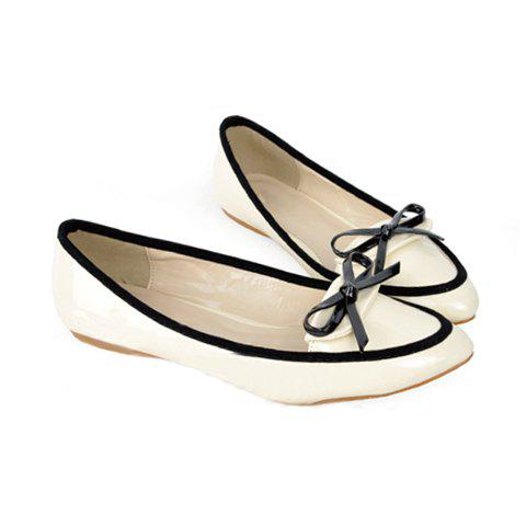 Pointed Head and Bowknot Color Block Design Women's Flat Shoes - APRICOT 36
