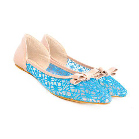 Openwork and Bowknot Design Women's Flat Shoes - 38 BLUE