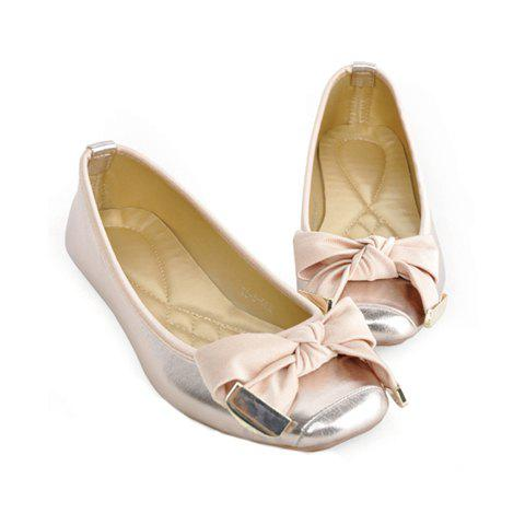 Square Head and Solid Color Design Women's Flat Shoes - GOLD 36