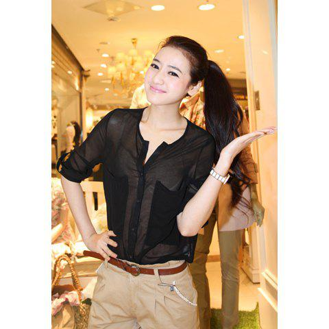Women's Chiffon Elegant Shirt With Perspective Gauze Large Pockets Long Sleeves Stand Collar Design - BLACK S