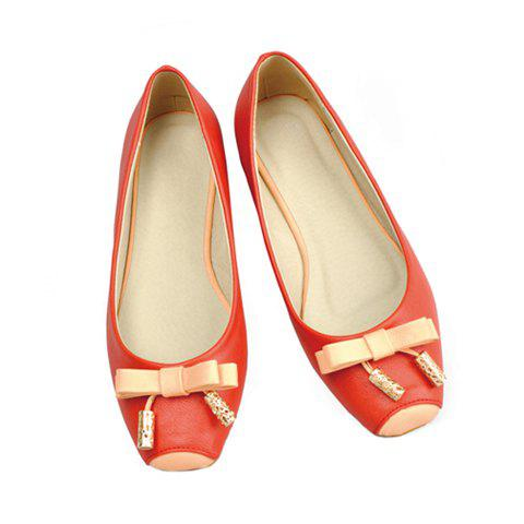 Solid Color and Bowknot Square Head Design Women's Flat Shoes - RED 35