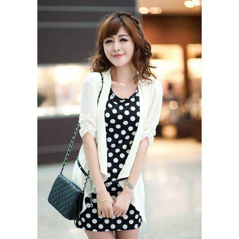 Scoop Neckline Casual Slimming Style Twinset Dot Patterns With Belt With Solid Color Top Short Sleeve Women's Dress - WHITE M