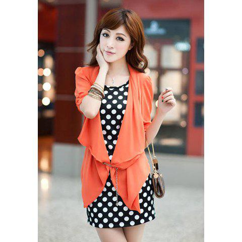 Scoop Neckline Casual Slimming Style Twinset Dot Patterns With Belt With Solid Color Top Short Sleeve Women's Dress