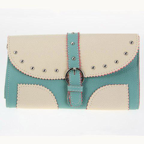 Casual Buckle and Rivets Design Women's Shoulder Bag - GREEN